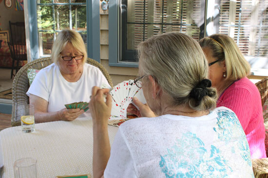 Women playing bridge